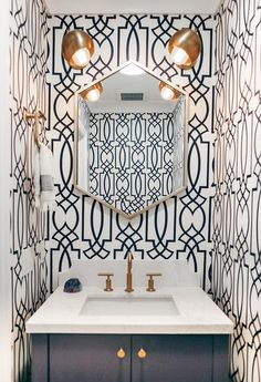 Powder Room Navy Blue Trellis Wallpaper - Design photos, ideas and inspiration. Amazing gallery of interior design and decorating ideas of Powder Room Navy Blue Trellis Wallpaper in bathrooms by elite interior designers. Bold Wallpaper, Wallpaper Accent Wall, Bathroom Inspiration, Blue Trellis Wallpaper, Bathroom Decor, Powder Room Wallpaper, Bathrooms Remodel, Blue Powder Rooms, Bathroom Design