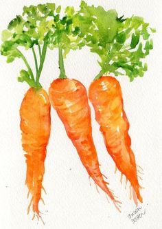Carrots watercolor Vegetables series, original painting, 5 x 7 Watercolor Fruit, Watercolour Painting, Watercolours, Vegetable Painting, Vegetable Drawing, Veggie Art, Veggie Food, Watercolor Projects, Fruit Painting