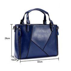 Women PU Leather Handbags Cowhide Patchwork Shoulder Bags