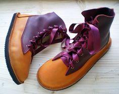 Handmade leather Vintage Fairytale boots,  Pumpkin, Garnet, OPHELIA by Fairysteps 1983, available on Etsy for over 320 bucks