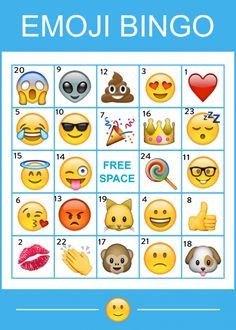 Free Printable Emoji Bingo Cards | CatchMyParty.com