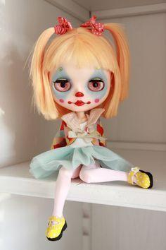 Custom Blythe doll Pipa clown girl OOAK by BigEyesBlythe on Etsy