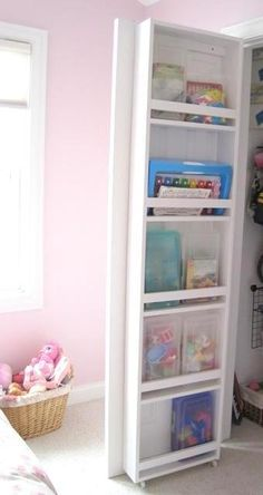 built-in closet door bookcase