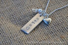 Valentine's Day necklace, Sweetheart necklace, Personalized metal stamped necklace, Love Squared Designs