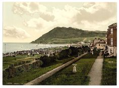 Bray Head, from above the boardwalk, Bray, County Wicklow, late century. Bray Ireland, Images Of Ireland, Vintage Postcards, Railroad Tracks, Paris Skyline, 19th Century, Dolores Park, Infinite, Travel