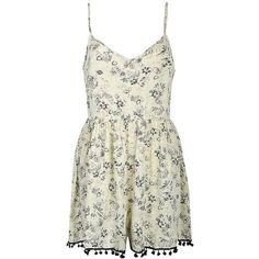 GRUNGE FLORAL POM POM PLAYSUIT (€24) ❤ liked on Polyvore featuring jumpsuits, rompers, dresses, playsuits, romper, pom pom romper, white rompers, white floral romper, floral rompers and playsuit romper
