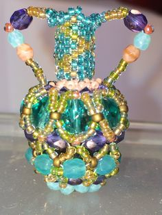 Moroccan Amphora Pendant - fire polished beads and seed beads (Hanaa Bijoux design)  Delica Tess