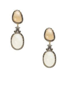 Multicolor Moonstone & Champagne Diamond Double Drop Earrings by Karma Jewels on Gilt.com