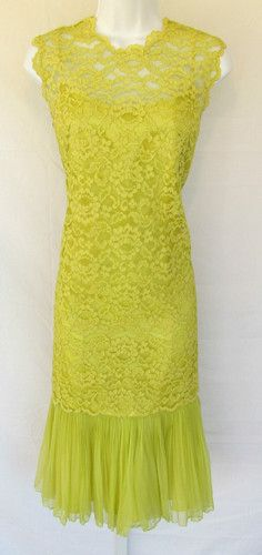 Vintage 1950s Dress Lace Cover Elinor Gay Original Canary Yellow Soutach Ruffles | eBay