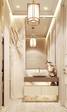 Luxuriöses Badezimmer mit Marmor- und Golddetails- - - Luxurious bathroom with marble and gold details - # wall design - Contemporary Bathroom Designs, Bathroom Design Luxury, Home Interior Design, Modern Luxury Bathroom, Neoclassical Interior Design, Marble Interior, Bathroom Design Small, Contemporary Style, Kitchen Design