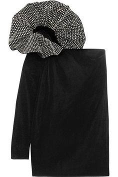 Saint Laurent - One-shoulder Crystal-embellished Velvet Mini Dress - Black