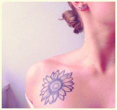 Sunflower Tattoo on Collarbone.