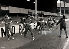 Sport, Football, White Hart Lane, London, England, 3rd April 1962, The Benfica team are pictured training as they prepare to play Tottenham Hotspur in the Semi Final Second Leg of the European Cup, with right, the Hungarian born Coach Bela Guttman directing operations  (Photo by Popperfoto/Getty Images)