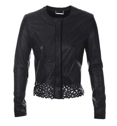 Gorgeous DVF black leather jacket with cut out trim - available at Stanwells.com!!