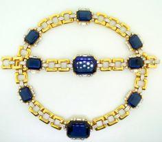 Vtg KTF Trifari Philippe Deco Sapphire Glass Rhinestone Necklace Bracelet Set | eBay
