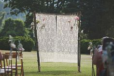 Lace lined outdoor ceremony canopy. Photography by jonschaaf.com, Event Design & Planning by @Mallory Joyce