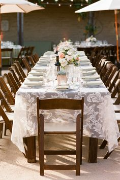 #tablescapes, #tablecloth  Photography: Michael & Anna Costa Photography ~ Anna Costa - michaelandannacosta.com  Read More: http://www.stylemepretty.com/2014/08/18/late-summer-romance-in-santa-barbara/