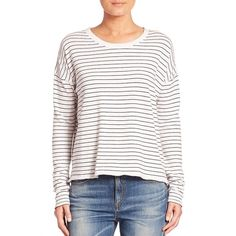rag & bone/JEAN Vintage Stripe Long Sleeve Tee ($130) ❤ liked on Polyvore featuring tops, t-shirts, apparel & accessories, striped t shirt, white stripes t shirt, white long sleeve t shirt, crop top and striped long sleeve t shirt
