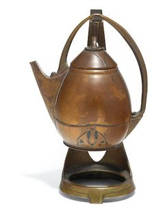 An Albin Müller for Eduard Hueck copper and brass teapot on stand circa 1903 impressed AM monogram and EDUARD HUECK 2029height 13in (33cm)