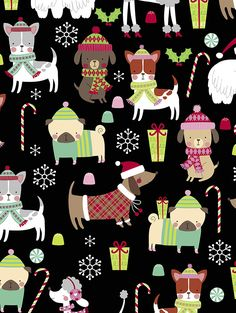 New for 2018 - Kennel Club Christmas gift wrap. Printed on luxurious embossed paper. Clay Christmas Decorations, Christmas Wood, Christmas Time, Christmas Phone Wallpaper, Wallpaper Iphone Cute, Christmas Illustration Design, Art Deco Pattern, Embossed Paper, Tela