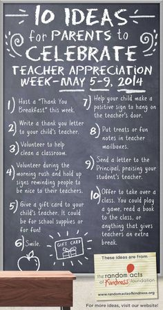 10 Ideas for Parents to Celebrate Teacher Appreciation Week, May 5-9, 2014 #teacherappreciationweek #parents