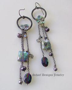 Mystic labradorite pearl carved abalone flower sterling silver dangle earrings | Gemstone & Pearl Dangle Jewelry | upscale artisan handcraft...