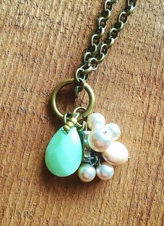 Upcycled Charm Necklace: Mint Green Charm with by Five17Designs