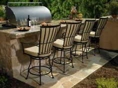 Why is there a Need to Add Patio Bar Stools? If you would want to have a more entertaining and relaxing outdoor environment, then, you should consider purchasing outdoor bar stools. Outdoor chairs ca Outdoor Patio Bar, Patio Bar Stools, Outdoor Kitchen Bars, Patio Bar Set, Outdoor Living, Outdoor Ideas, Outdoor Bars, Outdoor Decorations, Outdoor Life