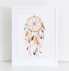 Watercolor Dream Catcher Printable, Boho Printable, Tribal Wall Art, Native American Decor, Teen Wall Art, Home Wall Decor, Art Printable