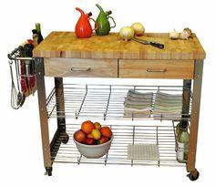 Stadium Kitchen Cart with Wood Top
