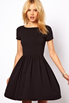 Bye-Bye, Plain Jane! 10 Little Black Dresses With Serious Flair  #refinery29  http://www.refinery29.com/42984#slide6  ASOS Skater Dress With Slash Neck And Short Sleeves $35.08, available at ASOS.