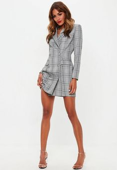 A blazer style dress in a gray heritage plaid design, button front detail and mini length. Blazer Outfits Casual, Blazer Outfits For Women, Blazer Fashion, Blazers For Women, Ladies Blazers, Women's Fashion, Bodycon Fashion, Fashion Addict, Fitness Fashion