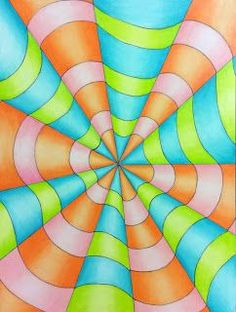 I love Op Art and I thought it would be the perfect lesson to teach Art 1's how to use colored pencils. We began by discussing O...