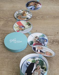 """Circles of Love"" wedding invitation with photographs in a mint green cylindrical box"