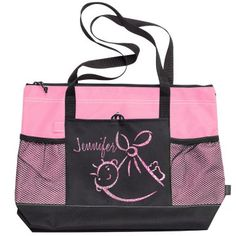 You can personalize this for a new mom = beautiful pink and black zippered tote bag featuring Pink Glitter Baby design. Sports Birthday, Birthday Gifts For Kids, Gifts For Teens, Gifts For Mom, Customized Girl, Bachelorette Shirts, Baby Girl Gifts, Family Shirts, Baby Design