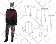 Menswear Design ITailored FinalGraphics, Illustrations, Mood Board, and Customer Board done in PhotoshopFlats done in Illustrator
