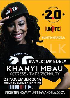 Celeb, Khanyi Mbau (@KhanyiMbau), shows her commitment to the #UNITE4MANDELA campaign.