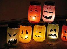 PAINTED JAR LUMINARIES   Shopping list:  Mason Jars  Spray paint  Clear coat spray paint LED candles