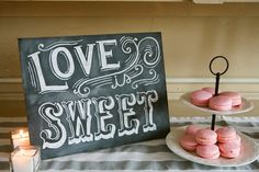 Candy Buffet Sign - Love Is Sweet - Vintage Wedding Chalkboard - Shabby Chic Wedding - Wedding Chalkboard