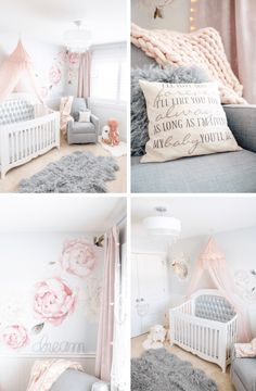 Dreamy grey and pink peony nursery with swan decor • Girls floral nursery • Swan nusery • Pink peony nursery with gray rocking glider, silver tufted crib, pink flower wall decals, tulle canopy and swan decor Chandeliers and Champagne