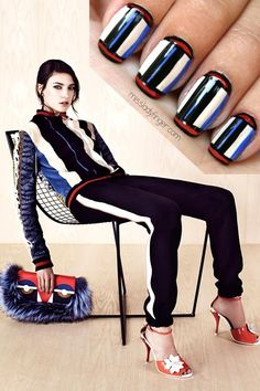 Try this fashionable nail art inspired by Fendi.