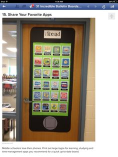 Bulletin board idea for subject area apps we want students to load on their iPads.