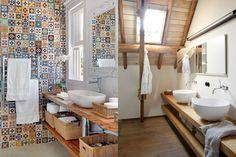 Doppie Mensole in legno per lavabo in appoggio