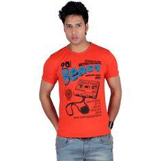 5aa906020fc Buy Raves Orange Cotton T-Shirt (Size-M) by RISHI FABRICS LTD.