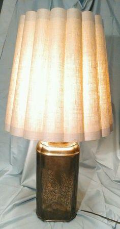 Vintage Large Bronze Colored Table Lamp Light Birds Flowers Engraved Design