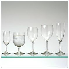 Standard stemware / trio of red wine, champagne and goblet