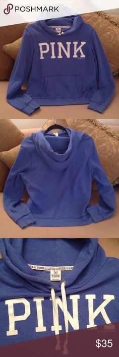 💖 'PINK- Victoria's Secret' - Blue Hoodie 💖 Pink Victoria's Secret in Size Large. Brand New but no tags attached. Super soft pullover with a cushy Hood. Pretty Blue color with Creamy White 'Pink' across the front. This pullover is so comfortable and warm. It's thick and soft too. Price is Firm!!  But Bundle it for greater savings!💖 PINK Victoria's Secret Tops Sweatshirts & Hoodies