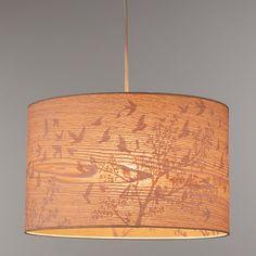 Buy John Lewis Flock Birds Lamp Shade, Wood/Grey Online at johnlewis.com