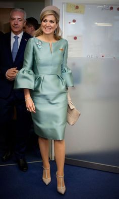 Queen Maxima was a vision in a sea foam green dress with trumpet sleeves, which she wore for her visit to the European Energy Exchange in Leipzig, Germany.   Photo: Patrick van Katwijk/Getty Images