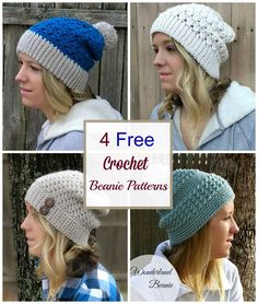 Crochet these 4 easy and gorgeous beanie hat patterns from Croyden Crochet. The Primrose Beanie, the Every Girl Slouch, the Alabaster Slouch and the Wonderland Beanie